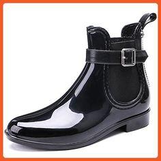 TONGPU Women's Waterproof Footwear Fashion PVC Rain Boots US 7 Black - Boots for women (*Amazon Partner-Link)