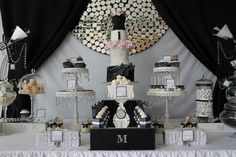 black and white and bling with high heal birthday cake   Runway / Catwalk 21st Birthday
