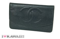 Authentic CHANEL Black Caviar Skin Snap Long Coin Purse Wallet Free Shipping! #Wallet #Accessory #Deal