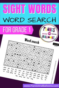 Fun sight words word search printable for your 1st grade students! Practice Dolch sight words with this sight words activity for grade 1. Grade 1 Lesson Plan, Kindergarten Lesson Plans, Preschool Kindergarten, Preschool Ideas, Teaching Ideas, Grade 1 Sight Words, Learning Sight Words, Dolch Sight Words, First Grade Activities