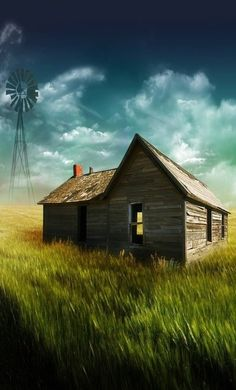'abandoned old house & windmill Country Barns, Old Barns, Country Life, Old Buildings, Abandoned Buildings, Abandoned Places, Old Abandoned Houses, Abandoned Castles, Abandoned Mansions