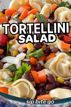 Mexican flavored tortellini pasta salad is always a hit for potlucks and work from home lunches at my house. | sipbitego.com #sipbitego #dinner #pastasalad #makeahead #potluck #sidedish #pastadish #familymeal #recipe #comfortfood #pasta #mexican #tortellini #partyfood Pasta Salad With Tortellini, Easy Pasta Salad, Cheese Tortellini, Easy Dinners, Easy Dinner Recipes, Mexican Pasta, Baked Rigatoni, Make Ahead Salads, Dinner Sides