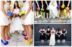 black bridesmaid dresses with bright coloured shoes which match the bridesmaids flowers