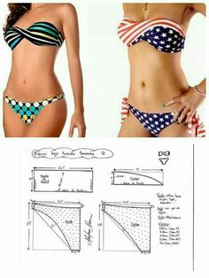 Trajes de baño Sewing Lingerie, Jolie Lingerie, Swimsuit Pattern, Bra Pattern, Diy Clothing, Sewing Clothes, Dress Sewing Patterns, Clothing Patterns, Motif Bikini
