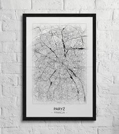 Plakat - mapa - Paryż  Gdzie kupić? www.eplakaty.pl