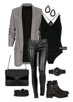 New Edgy Fashion Outfits Casual Pants Mode Outfits, Winter Outfits, Fashion Outfits, Womens Fashion, Leather Pants Outfit, Leather Leggings, Leather Bodysuit, Trajes Business Casual, Look Blazer