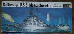 BIDDING ENDS IN 30 MINUTES!! 1/720 1967 Revell Battleship USS Massachusetts Plastic WWII Navy Ship Model
