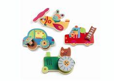 Djeco Skrue køretøjer Træ - Tinga Tango 3D spil - 4 på stribe i træ - Tinga Tango Designbutik. Interiørbutik - Interior - Children - Børn - Toys - Legetøj - Brugskunst - Design - Kunst - Webshop - Billig fragt - spil - games - Djeco - Janod - Sebra - Esthex