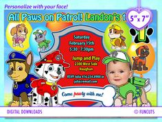 Paw Patrol 5 x 7 Paw Patrol Invitation birthday card. by FunCuts, $10.00