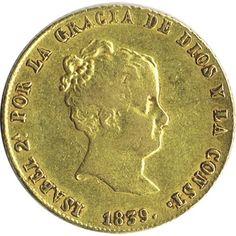 Moneda de oro 80 Reales Isabel II 1839 Sevilla. MBC.