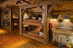 Western style bunkroom - I'm loving all of this wood! I am not a huge fan of bunk beds but I would love to have this type of wall, ceiling, and floor for a guest bedroom.