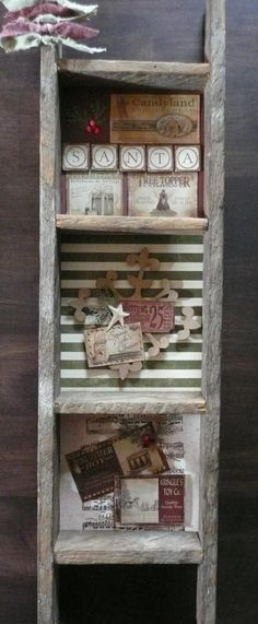 "Rustic ""Ladder"" Shelf Unit...using grunged scrapbooking papers & embellishments to add interest behind the shelves."