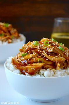 Slow Cooker Pulled Chicken Teriyaki recipe via justataste.com | An easy chicken recipe for dinner!