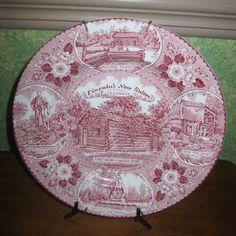 LINCOLN'S NEW SALEM ILLINOIS Pink red  PLATE STAFFORDSHIRE WARE Made in England