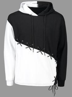 Lace Up Criss Cross Color Block Hoodie - WHITE/BLACK M