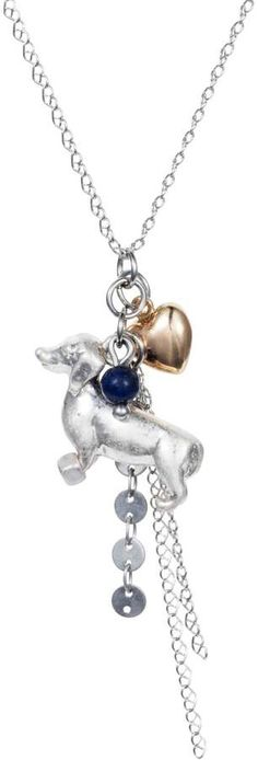 Nadia Minkoff - Dachshund Charm Necklace Silver with Blue Lapis