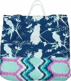 Cotton + Quill CHLOE BAG | CUCKOO :: MIDNIGHT / DYNASTY :: ORCHID : Beach / Overnight Bag with sailor's rope strap.  Perfect for beach going and overnight stays.   Interior pocket in coordinating pattern.  45% Cotton / 55% Linen.