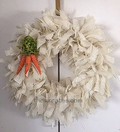 Easter Burlap Wreath White Easter Burlap Wreath by thewreaths