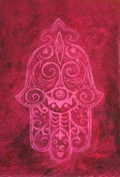 Hamsa in Magenta Art Print