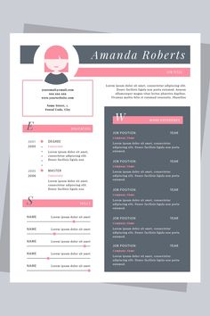 To get the job, you a need a great resume. The professionally-written, free resume examples below can help give you the inspiration you need to build an impressive resume of your own that impresses… Portfolio Web, Portfolio Resume, Portfolio Design, Resume Design Template, Resume Templates, Cv Template, Creative Cv, Creative Resume Design, Resume References