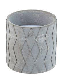 Salt&Pepper Facet Candle Pot, Concrete, 8x8cm product photo