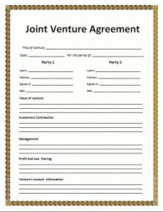 Agreement templates free word templates general for Jv agreement template free