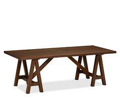 Chatham Rectangular Fixed Sawhorse Dining Table #potterybarn