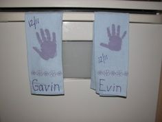 Handprint Dish Towels - Makes a Wonderful Christmas Gift.  Fun for Kids to make.