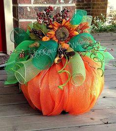 Orange and Green Spiral Mesh Pumpkin Wreath Decor - 2014 Thanksgiving Fall Harvest Flower Decor