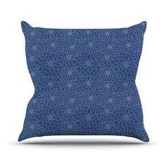 "Julia Grifol ""White Flowers on Blue"" Navy Blue Throw Pillow"