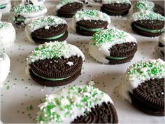 Mint Oreos - tasty any time but perfect for St. Patrick's Day. #cookies http://www.ivillage.com/st-patrick-s-day-snacks-make-your-kids/6-a-525330
