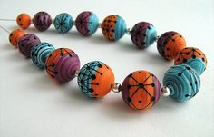 Polymer Beads, Polymer Clay Necklace, Polymer Clay Crafts, Clay Beads, Celine, Clay Tutorials, Turquoise Bracelet, Craft Projects, Creations