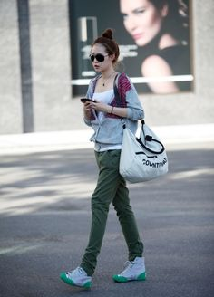Casual, olive green jeans