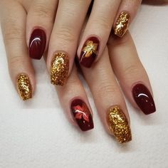 All Photos Burgundy and Gold Nails. By Lily Jacobs Fancy Nails, Gold Nails, Cute Nails, Pretty Nails, Bronze Nails, Square Nail Designs, Fall Nail Art Designs, Acrylic Nail Designs, October Nails