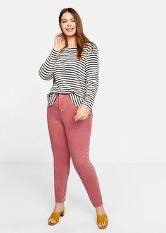 Striped cotton t-shirt - T-shirts and tops Plus sizes | Violeta by Mango United Kingdom