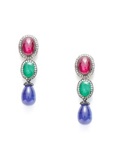 Ruby, Emerald, & Tanzanite Briolette Drop Earrings by Amrapali