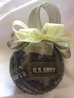 Army Decoupage Ornament by WreathsByKari on Etsy