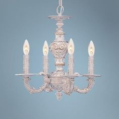 """Sutton 13 1/2"""" Wide Antique White and Gold Chandelier"""