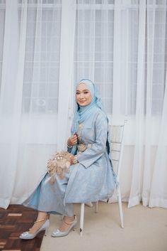 Baby Blue Wedding Dresses, Malay Wedding Dress, Muslim Wedding Gown, Baby Blue Weddings, Hijab Wedding Dresses, Hijab Bride, Classic Wedding Dress, Wedding Attire, Wedding Ceremonies