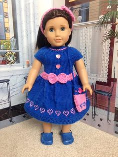 18 inch American Girl Doll Handmade Knitted Dress by CrazyLadyDollClothes on…