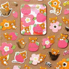 cute Rilakkuma bear sticker with strawberry by San-X