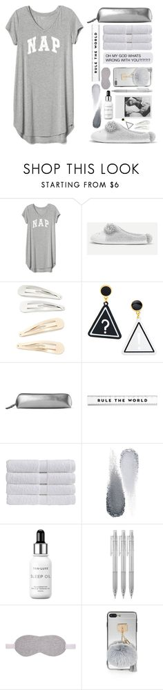 """""""Sleep in: Lazy Day"""" by lana-baloley ❤ liked on Polyvore featuring Gap, Kitsch, Polaroid, Smythson, Christy, Clé de Peau Beauté, Tan-Luxe, Muji and Cash Ca"""
