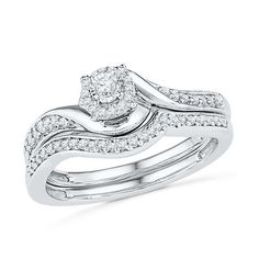 Shop For CT. Diamond Swirl Frame Bridal Set in Sterling Silver at Gordon's Jewelers - CT. Diamond Swirl Frame Bridal Set in Sterling Silver. Peoples Jewellers, Gold And Silver Rings, Bridal Ring Sets, Diamond Stone, Diamond Rings, Vintage Diamond, Sterling Silver Necklaces, Silver Earrings, Silver Jewelry