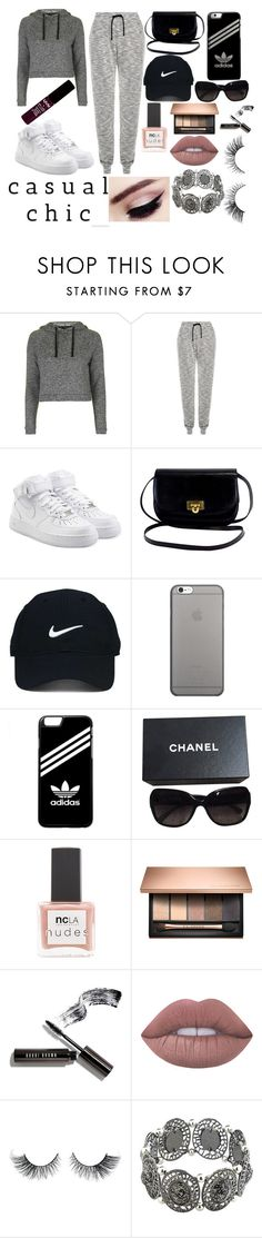 """casual chic"" by alisjoadisfigueroa-1 ❤ liked on Polyvore featuring Topshop, J.Lindeberg, NIKE, Nike Golf, Native Union, adidas, Chanel, ncLA, Bobbi Brown Cosmetics and Lime Crime"