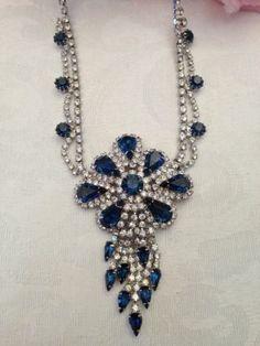 Vintage Kramer of N Y Sapphire and Ice Rhinestone Necklace Very Lavish | eBay