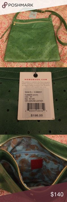 Hobo cross body NWT!! Super cute green cross body bag by hobo! Front has hole-punch design (think madewell tote) but the whole bag is fully lined with print fabric. total of three outer compartments, two on front and one small on back. Inside has zipper pouch and other slit compartments to keep it organized. Awesome green color! Brand new and normally $198! HOBO Bags Crossbody Bags
