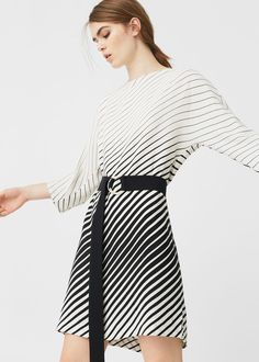 Black &White Belt striped bat wing dress | MANGO