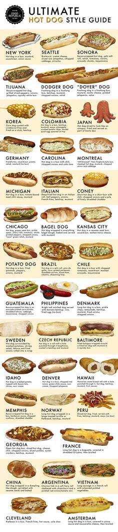 Just because I didn't know Michigan had a hot dog style. 40 different, delicious ways to eat hot dogs. The ultimate hot dog style guide! Cooking Tips, Cooking Recipes, Cooking Classes, Pasta Recipes, Dog Recipes, Recipies, Food Truck, Food Hacks, Love Food