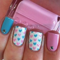 Pink and blue heart nails