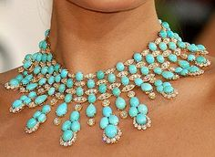 Necklace | Van Cleef & Arpels.  132 blue turquoise stones and 36.06 carats of diamonds set in 18K yellow gold